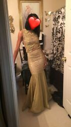 Gold evening gown prom dress size 0 1 excellent condition $500.00