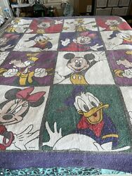Vintage Disney Mickey And Minnie Color Block Blanket With Donald And Goofy