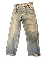 1940s Vintage Mens Blue Button Fly Work Wear Jeans 32