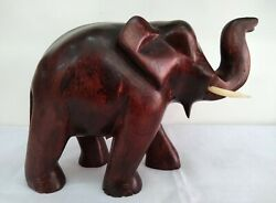 5and039and039 Wooden Elephant Statue Animal Figurine Lucky Sculpture Gift Home Decor