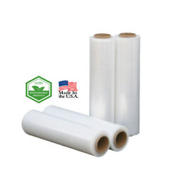 224 Rolls Pre-stretch Hand Wrap Biodegradable Clear 15 X 1968and039 7.4 Mic