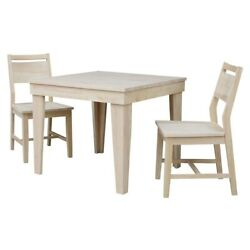 Aspen Solid Wood Dining Table With 2 Aspen Panel Chairs - Unfinished N/a
