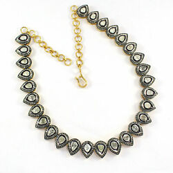 Polki Diamond Chain Necklace 925 Sterling Silver Victorian Antique Jewelry