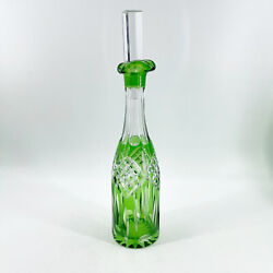 Vintage Emerald Green Cut To Clear Crystal Glass Wine Liquor Decanter Barware