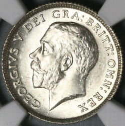 1924 Ngc Ms 64 6 Pence George V Great Britain Lion Silver Coin 21072403c