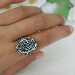 Natural Pave Diamond Cocktail Rings Crystal Quartz 925 Silver Fine Jewelry