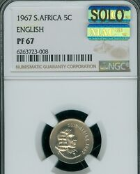 1967 South Africa 5 Cents English Ngc Pf67 Mac Solo Finest Spotless 95 Minted
