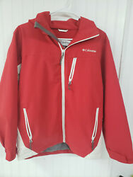 Columbia Sportswear Company Omni Tech Breathable Waterproof Y 14-16 Red And White