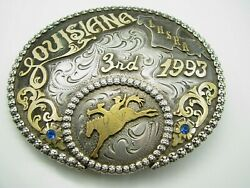 1993 Louisiana Rodeo Trophy Sterling Silver And 10k Gf Lhsra Champ Cowboy/western
