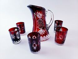 Vintage Ruby Red Crystal Cut-to-clear Czech Bohemian Pitcher And 6 Glasses Set