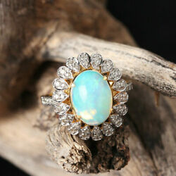 Opal Diamond Designer Cocktail Rings Solid Pave 925 Sterling Silver Jewelry