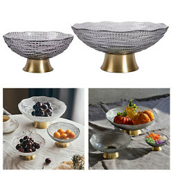 Glass Fruit Bowl Party Plates Cake Tray Clear Living Room Terrarium