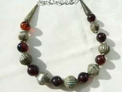 Antique Ethiopian African Necklace, Harar Silver Metal Beads, Burma Amber Bds,