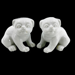 Vintage 70's Pair Of Fitz And Floyd Blanc De Chine White Dog Figurines Statues