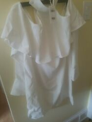 PRIVACY PLEASE white OFF SHOULDER women#x27;s DRESS SIZE LARGE $25.00