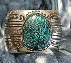 Vintage Navajo Sterling Silver And Turquoise Cuff Bracelet - Carson Blackgoat