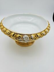 Antique Porcelain Gold Gilded Footed Bowl As Found Handles Broken Off 3.5and039and039t