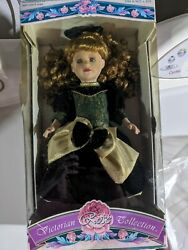 Porcelain Doll Green And Gold Dress Rose In Hair Vintage