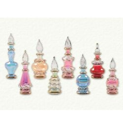 Small Multicolor Egyptian Blown Glass Perfume Bottles Set Of 8 Made In Egypt New