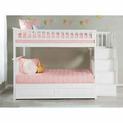 Columbia Staircase Bunk Bed Full Over Full With Twin Size White Full
