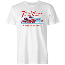 Firecliff Lodge Hotel Vintage Palm Springs T-shirt White Tee S-5xl