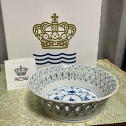 Royal Copenhagen Blue Fluted Full Lace Reticulated Bowl With Box Denmark