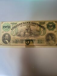 Confederate Currency 5 Citizens Bank Of Louisiana At Shreveport