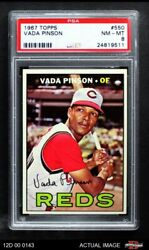 1967 Topps 550 Vada Pinson Reds Psa 8 - Nm/mt