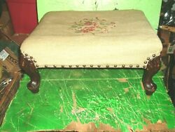 Antique Vintage Victorian Needlepoint Carved Wood Foot Stool