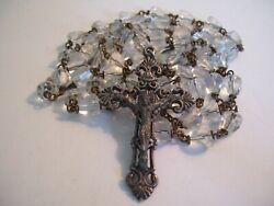 Vintage Clear Glass Rosary Beads W/ Detailed Striking Silver Tone Cross Italy