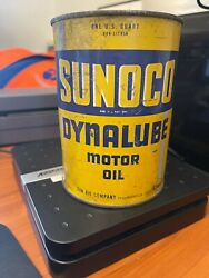 1946 Vintage Sunoco Dynalube Motor Oil Can 5 Gt/phillips 66 Tin Metal