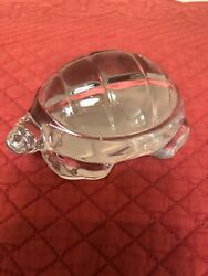 Vintage Baccarat Crystal Turtle From France Paper Weight 4 1/4 X 3