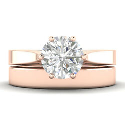 1ct E-si2 Diamond Cathedral Engagement Ring 18k Rose Gold Any Size