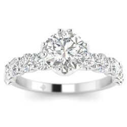2ct E-si2 Diamond Vintage Engagement Ring 14k White Gold Any Size