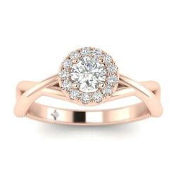 1.3ct D-vs2 Diamond Round Engagement Ring 14k Rose Gold Any Size