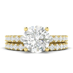 1.6ct F-si2 Diamond With Accsdts Engagement Ring 14k Yellow Gold Any Size