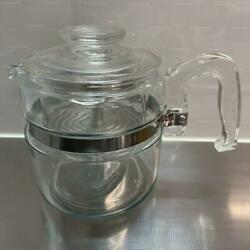Vintage Pyrex Flameware Coffee Percolator Pot 7754 With Lid Basket Strainer Rare
