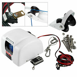 1 White Saltwater Electric Anchor Winch Set Boat Winch W/ Remote Control 25lbs