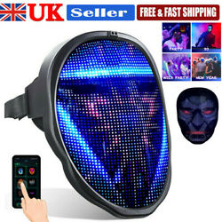 Uk Led Full Face Mask Programmable Mask App Control Mask - Rechargeable