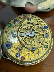 Antique French Extra Large Verge Fusee Pocket Watch Key Wind Late 1700and039s-1800and039s