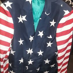Usa Flag Great Jacket Patriotic Size Medium Red White Blue American Suitmeister