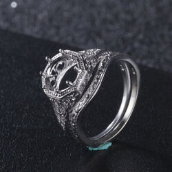 Sale Silver 925 Round Mount Vintage Filigree Jewelry Engagement Fine Ring Sets