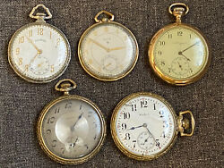 Lot Of 5 Old Vintage Pocket Watches Elgin Illinois Some Silver And Gold Filled