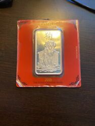 2018 Pamp Suisse - 100 Gram - Lunar Year Of The Dog - .999 Silver Bar In Assay