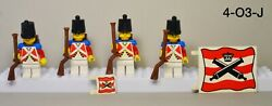 Lego Red Coat Imperial Soldier Minifigures Lot Of 4 Pirates Vintage Flag Rifles