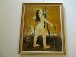 Large Pierre Laverenne Oil Painting French France School Of Paris Nude Woman Mod