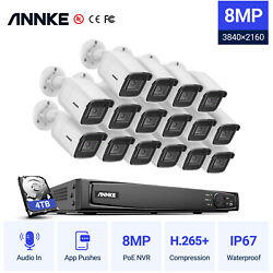 Annke Ultra Hd 8mp 4k Audio Video 8ch/16ch Nvr Poe Security Ip Camera System Hdd