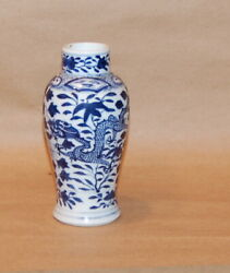 Chinese Porcelain Blue White Small Dragon And Peony Vase