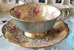 Paragon Cup And Saucer Mini Pink Rose Lace Pattern Turquoise Blue Gold Vintage