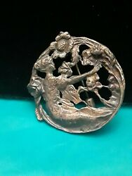 Antique/vintage Lady Cutting Flowers In Garden Stick Clasp Pin Brooch Rare
